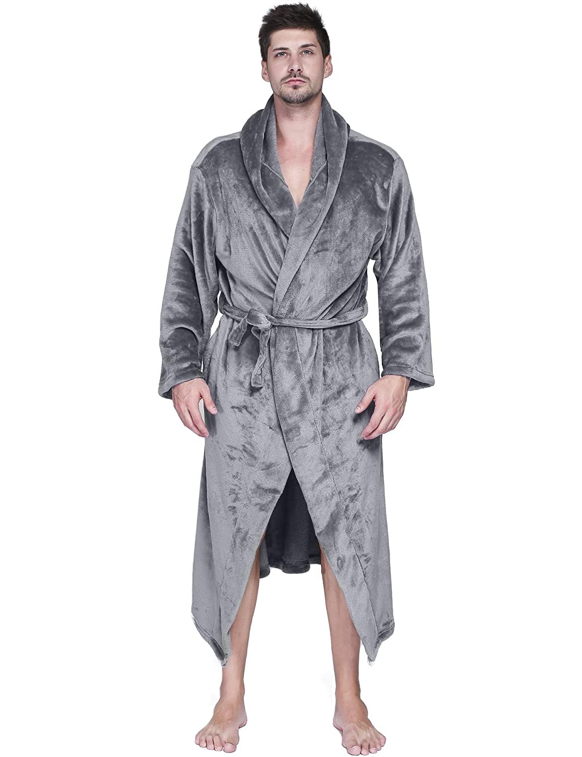 Dickin mens winter hooded flannel robes plush warm belted kimono bathrobes  with pockets at amazon mens e7ab68916