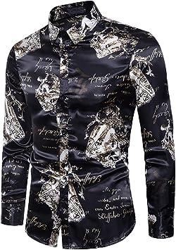 Camisas Flores Hombre Manga Larga Slim Fit botón Estampada Moda Entallada Informal,XXL: Amazon.es: Deportes y aire libre