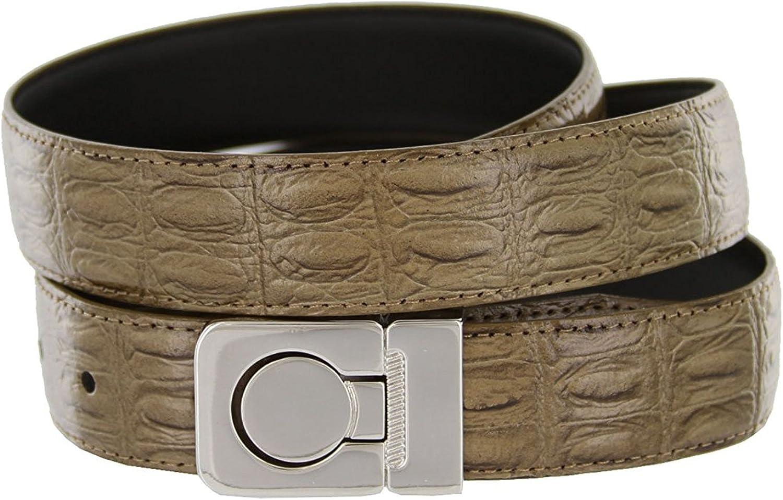 Pele Belt Men 30 mm Wide Olive PU Leather Crocodile Embossing Channel Buckle