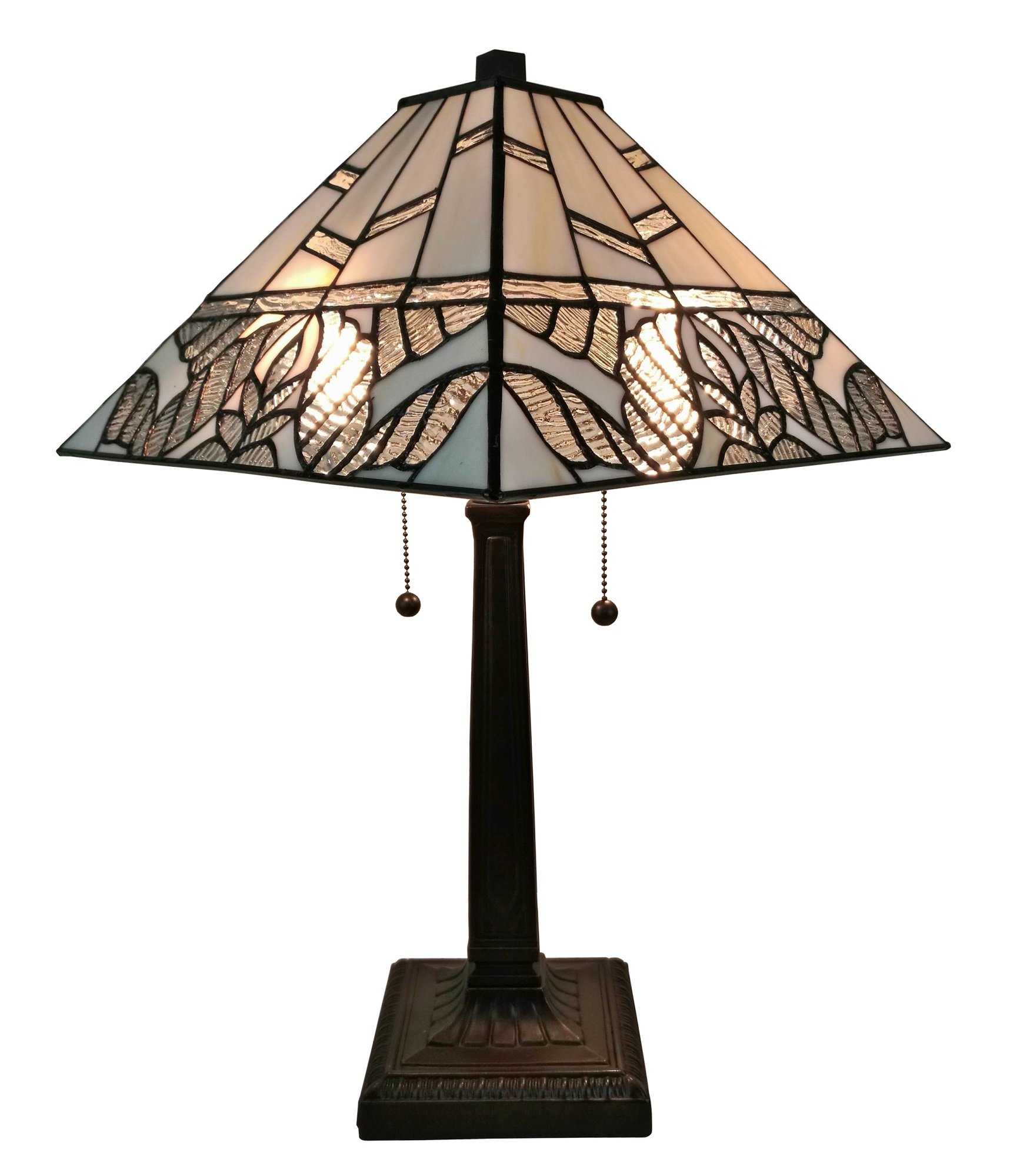 Amora Lighting AM306TL14 Tiffany Style White Mission Table Lamp 22 Inches Tall
