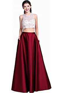 Momoai Womens Crystal Beaded Bodice Ball Gown Evening Formal Gown 2 Pieces Prom Dresses Long M006