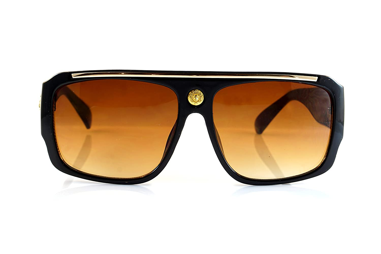 66cb114a940 Amazon.com  FBL Ultimate Hip Hop Gold Emblem Flat Top Bold Frame Sunglasses  A075 (Black Brown)  Clothing