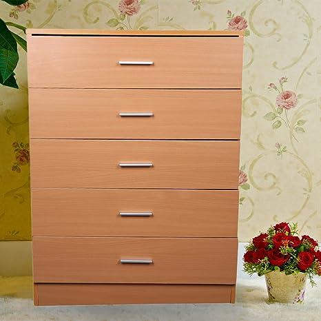 Homgrace cómoda de melamina con 5 cajones para Todo Tipo de decoración en casa, la Oficina, 67 * 35 * 90 cm (Madera)