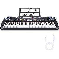 Teclado de Piano Teclado Musical Digital Teclado Electrónico portátil con 61 teclas, Soporte de Música, Fuente de…