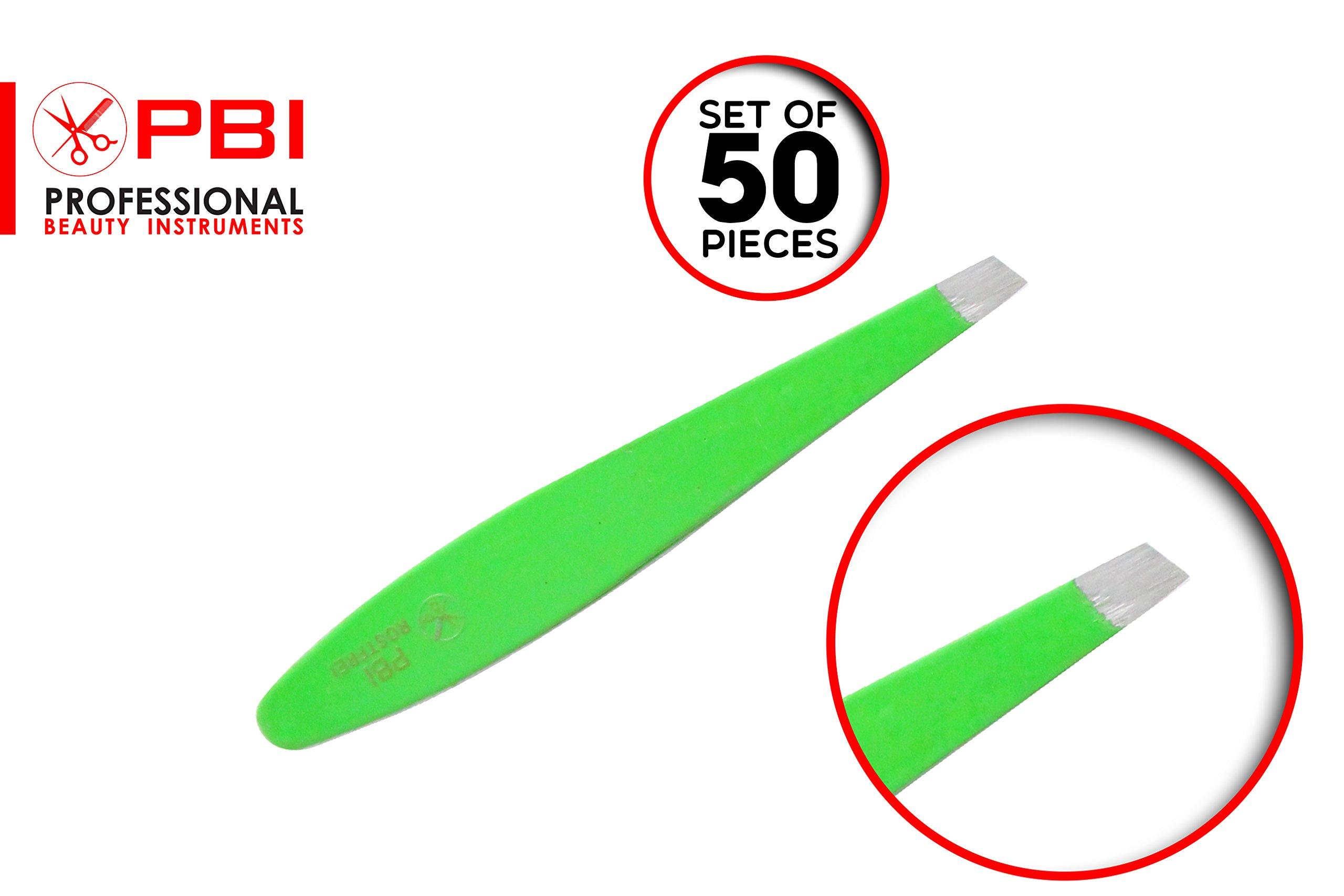 Eyebrows tweezer - hair plucker - hair depletion tweezer - eyelash extension placer - Green Color tweezers - 6.7 cm - 50 pieces set - Stainless steel from PBI