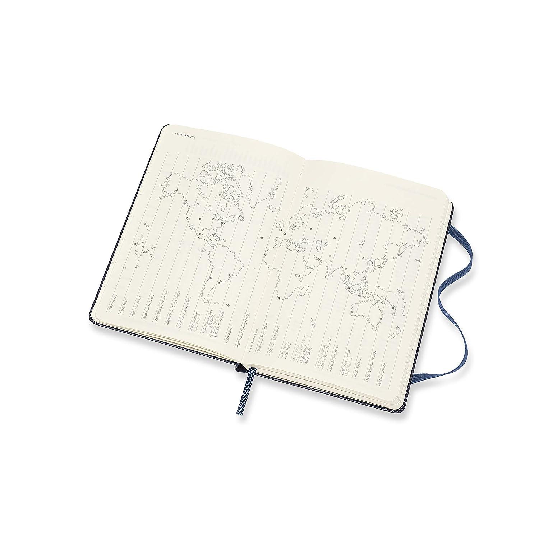 Moleskine - Agenda semanal horizontal de 12 meses 2020, tapa dura y goma elástica, color azul zafiro, tamaño pequeño 9 x 14 cm, 144 páginas