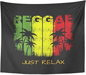 TOMPOP Tapestry Colorful of Reggae Music Slogan Just Relax Graphics Green Home Decor Wall Hanging for Living Room Bedroom Dorm 50x60 Inches