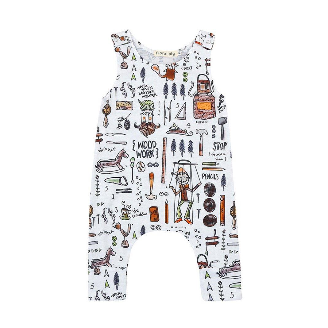 55abaf32e Amazon.com  Lavany Infant Baby Boy Girl Romper Sleeveless Cartoon ...