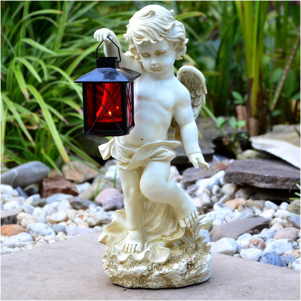 Grabengel mit Laterne 38cm Grablicht Grab-Schmuck Grablampe Grableuchte Engel
