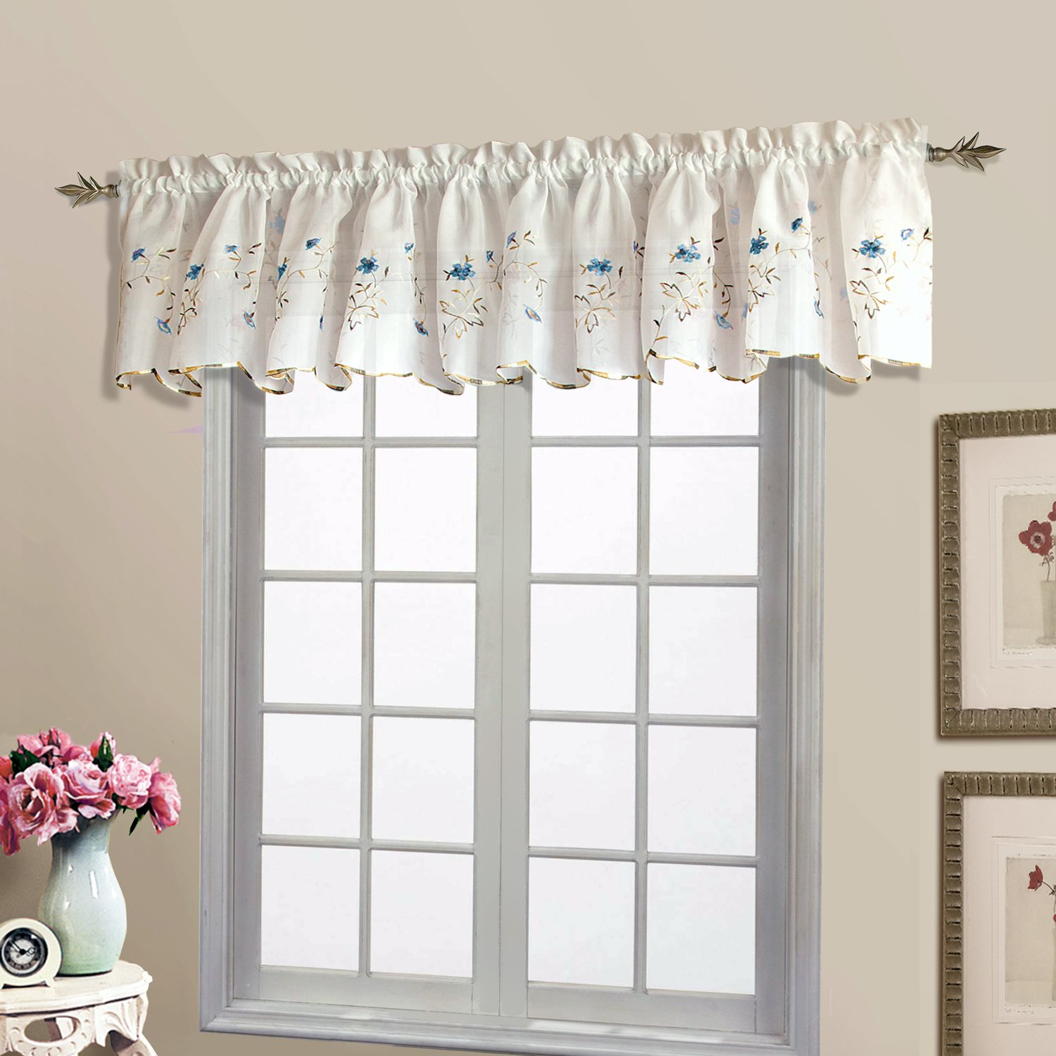 royal abri gray amazon curtain home sheer kitchen com hotel inches by silver crushed panel valance dp grommet