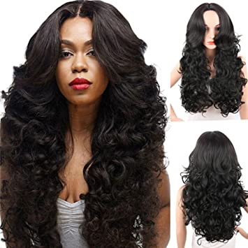 KRSI Long Wavy Curly Synthetic Hair Wigs for Black Women 28Inch Natural Black  Wigs With Bangs a72163642