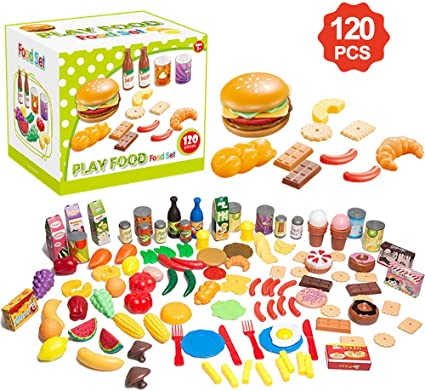 120 Pcs Kids Kitchen Pretend Role Play Plastic Food Fruits Vegetables Toys Gift