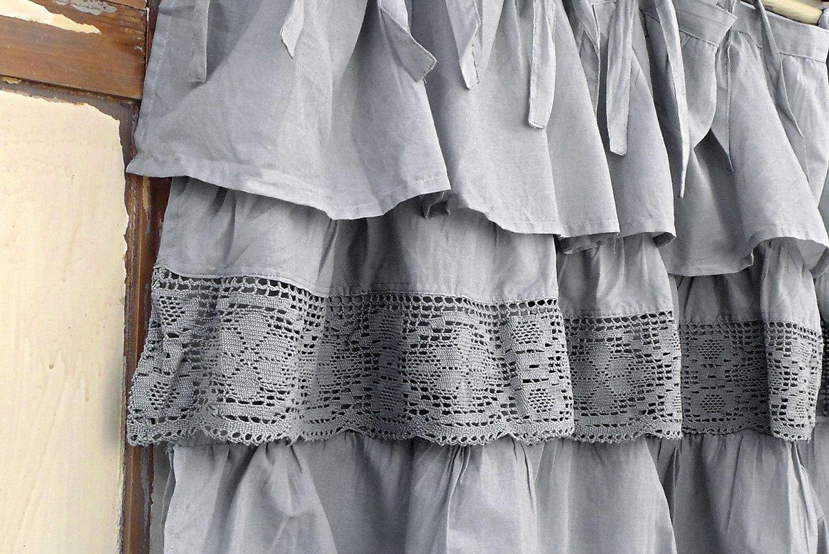 100/% Cotton Voile Grey AT17 Shabby Chic Farmhouse Ruffle Window Valance Pelmet Lambrequin Three Ruffled Cafe Curtain 130x60 Ruffles//Crochet