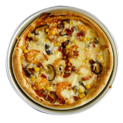 Bandeja de Bandeja de Pizza Molde para Hornear Bandeja para Hornear de Plata No pegajosa Bandeja