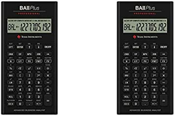 Texas Instruments IIBAPRO/TBL/1L1 BA II Plus Professional Financial Calculator, Pack 2