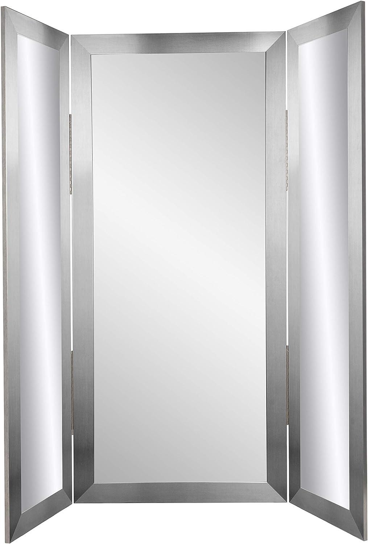 BrandtWorks Silver Modern Tri-Fold Mirror, Large