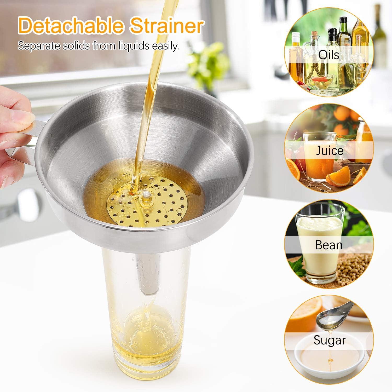 Aukiita Embudo de Acero Inoxidable,Set de Embudos de Cocina con Mango Colador Desmontable Ingredientes Secos 300 filtros de Malla para filtrar l/íquidos Polvo