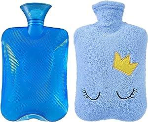 Transparent Hot Water Bottle- 2 Liter Hot Water Bag with Fleece Cover - Blue