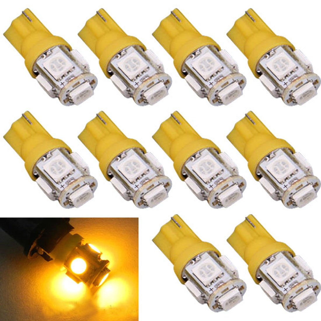 TONSEE 10pcs T10 5-SMD 5050 Xenon LED Light bulbs 192 168 194 W5W 2825 158, Yellow TONSEE_A10681