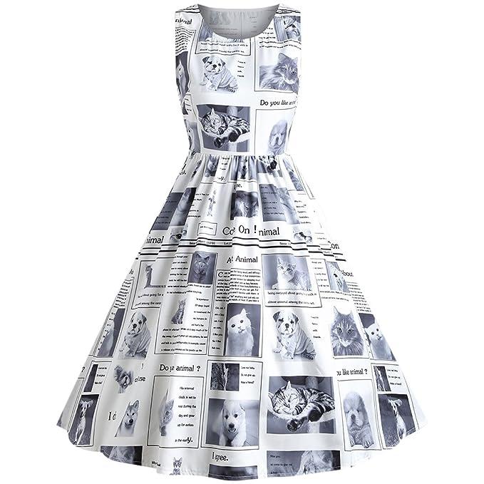 YTJH Mujer Vestido Elegante de Trapecio 1950s Vintage Vestido Casual sin Mangas Estampado de Gatito Perrito