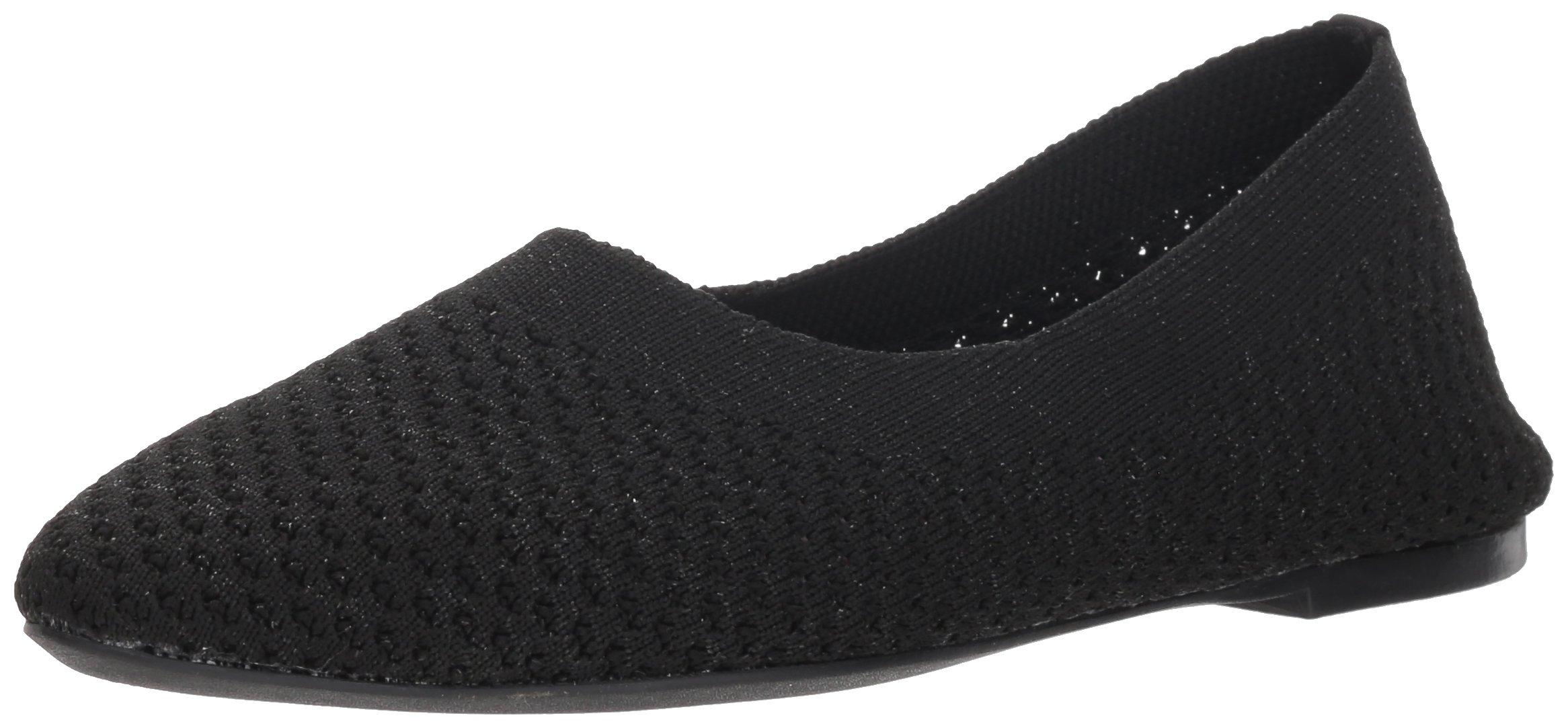Skechers Women's Cleo-Star Daze-Metallic Engineered Knit Skimmer Ballet Flat, Black, 11 M US