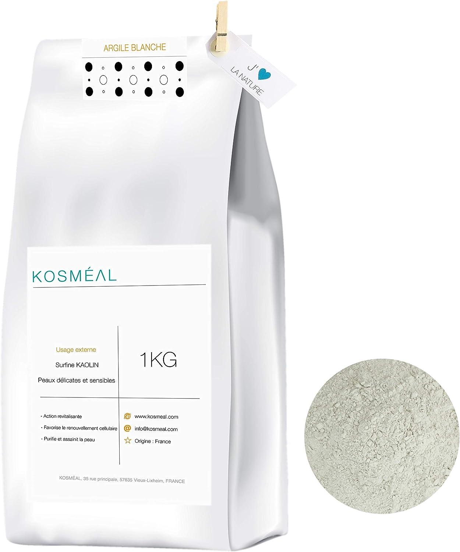 Arcilla Blanca Caolin En Polvo Francesa 1KG - 100% Puro Y Natural - Embalaje Ecológico En Papel Kraft Blanco