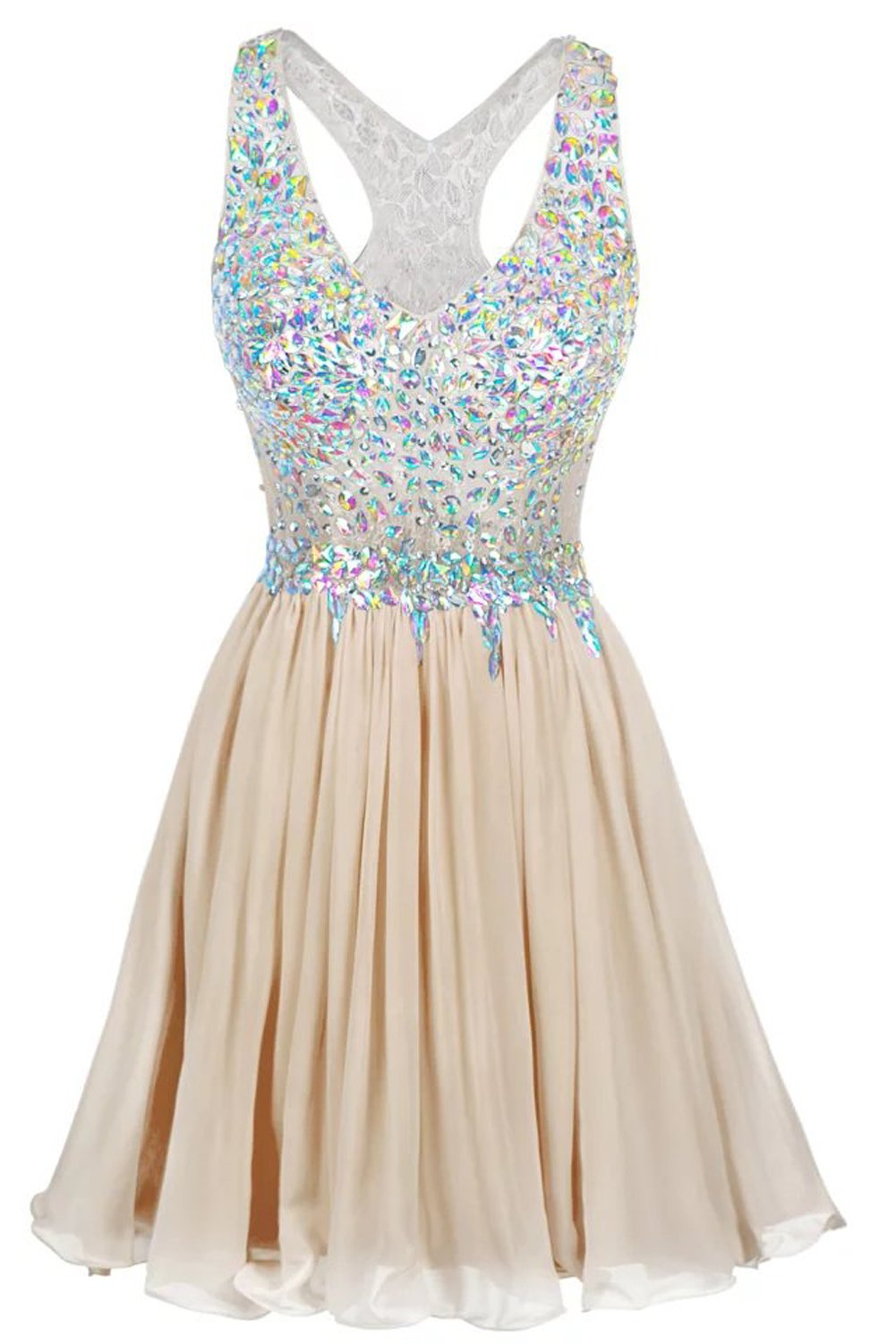 LaceLady Short/Mini Halter Cocktail A Line/Princess Homecoming Dresses Beaded Bodice Champagne US8