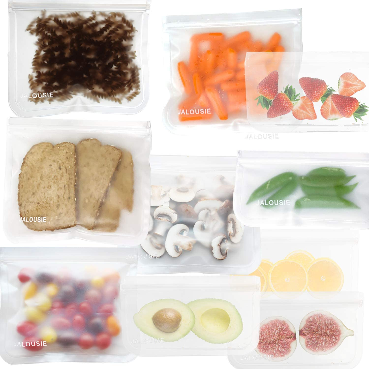 JALOUSIE Reusable Storage Bags (10 Pack) Extra Thick Zipper Bag for Snacks, sandwiches, stationery, travel 3-1-1 clear bag (clear)