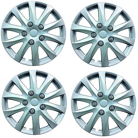 Tapas para rueda marca Phoenix de 38 cm para automóvil Peugeot 207 y 207 CC (2006 en adelante), color plateado (4 piezas): Amazon.es: Coche y moto