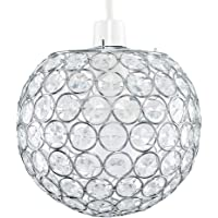 Modern Chrome Globe Ceiling Light Shade with Acrylic Crystal Effect Jewels