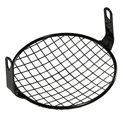 CICMOD Universal Motorcycle Cruiser Bobber 6.25 Inch Retro Grill Mesh Headlight Cover Black: Automotive