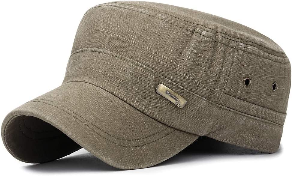 Military Style Washed Cotton Cadet Army Caps Vintage Adjustable Flat Top Cap Adjustable Baseball Hat Low Profile Dad Hat Trucker Hat for Men and Women Haluoo Cadet Army Cap