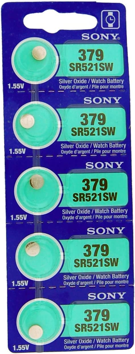 SR521SW Pack of 5 Sony Silver Oxide Batteries Size 379