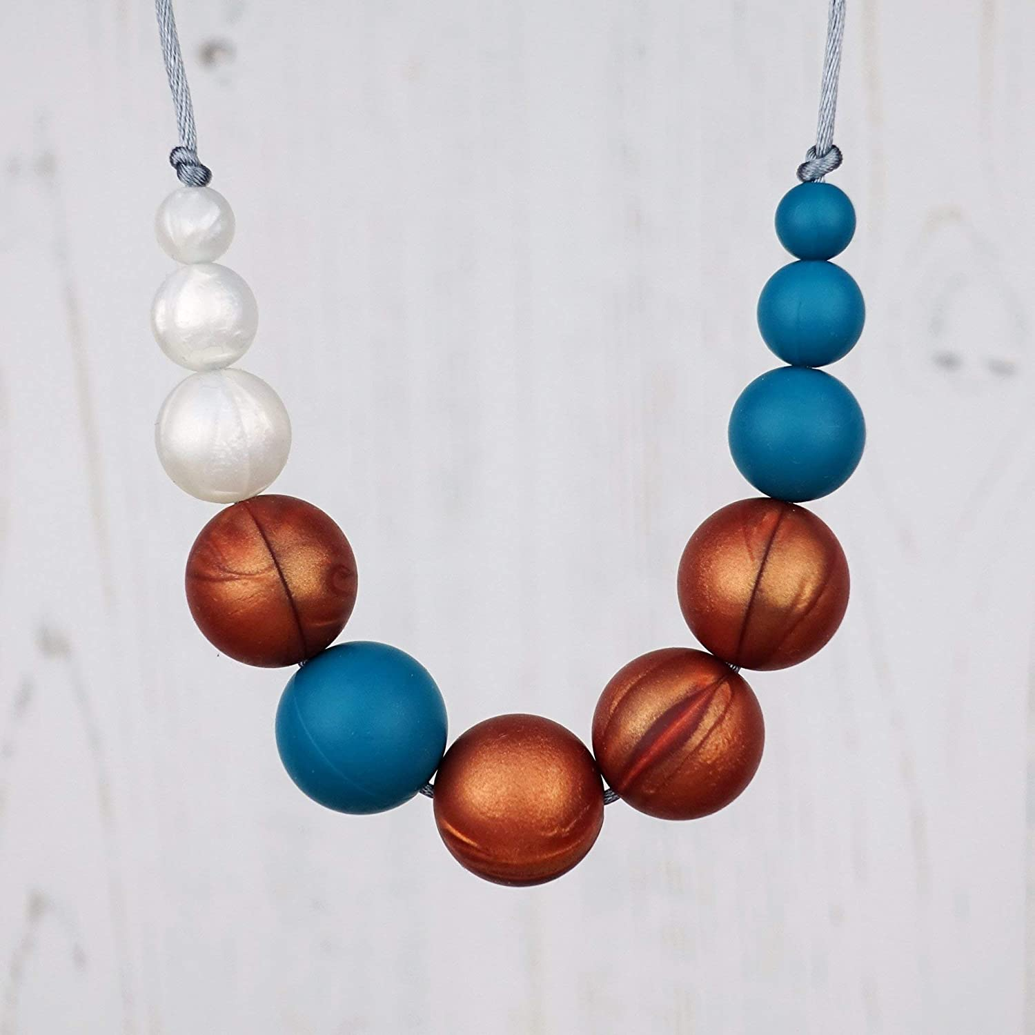 Silicone Teething Jewellery for Breastfeeding and Baby Wearing. Teething Necklace - PHOEBE: LUNAR