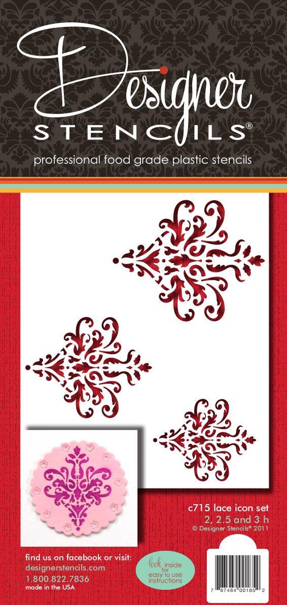 Beige//semi-transparent designer stencils C715 Lace Icon Cake Stencil Set