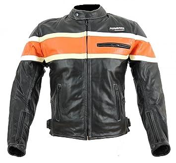 kc011 chaqueta moto Chopper karno-motorsport piel negro/naranja Biker USA Style: Amazon.es: Coche y moto