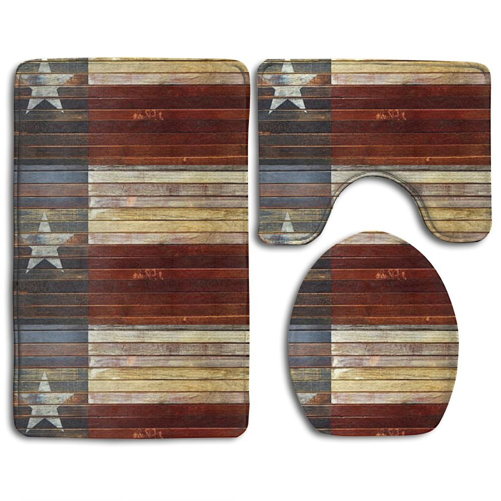 Wood Texas Flag Non-Slip Bath Mat Set 3-Piece Soft Bath Rug Set Includes Bathroom Mat Contour Rug Lid Toilet Cover
