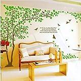 Colorfulworld® Adesivo da parete, 170 cm (altezza), con albero, verde