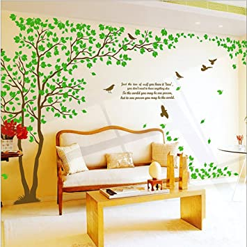 WallStickersDecal Giant Green Tree Wall Decal Sticker Pair 170cm 6 Ways To  Apply (H) Part 45