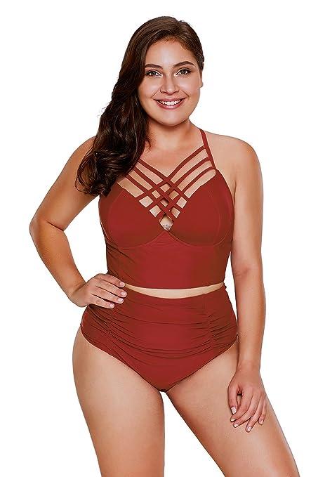 dcd874468ec89 Spritech 2018 para mujer Plus Size Sexy tiras traje de baño talle alto  volantes