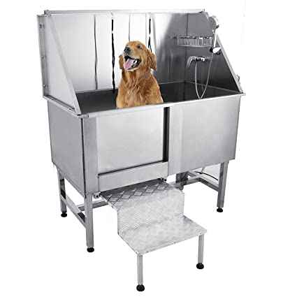 Genial Happybuy 50u0026quot; Professional Stainless Steel Pet Dog Grooming Bath Tub  With Faucet Walk In