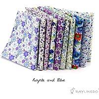 "RayLineDo 10 Pcs Different Pattern Multi Color 100% Cotton Poplin Fabric Fat Quarter Bundle 18"" x 22"" Patchwork Quilting Fabric"
