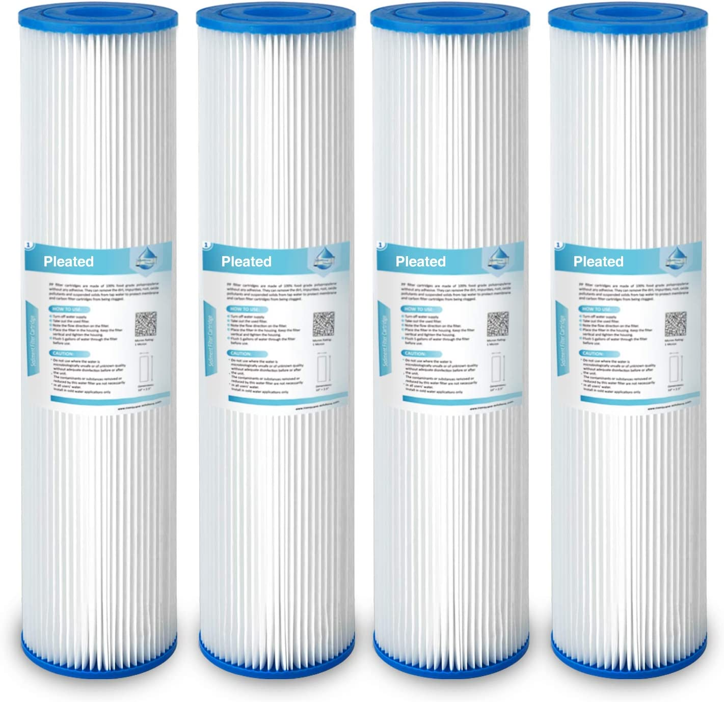 Membrane Solutions 20 Micron 4 Pack 10 x 2.5 Pleated Sediment Filter