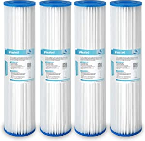"""Membrane Solutions 20 Micron Pleated Polyester Sediment Water Filter 10""""x2.5"""" Replacement Cartridge Universal Whole House Pre-Filter Compatiable with W50PE, WFPFC3002, SPC-25-1050, FM-50-975 - 4 Pack"""