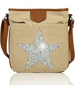 3e92f4de24 Redfox Big Sparkling Rhinestones Star Slim Canvas Vintage Messenger Women s  Shoulder Bag
