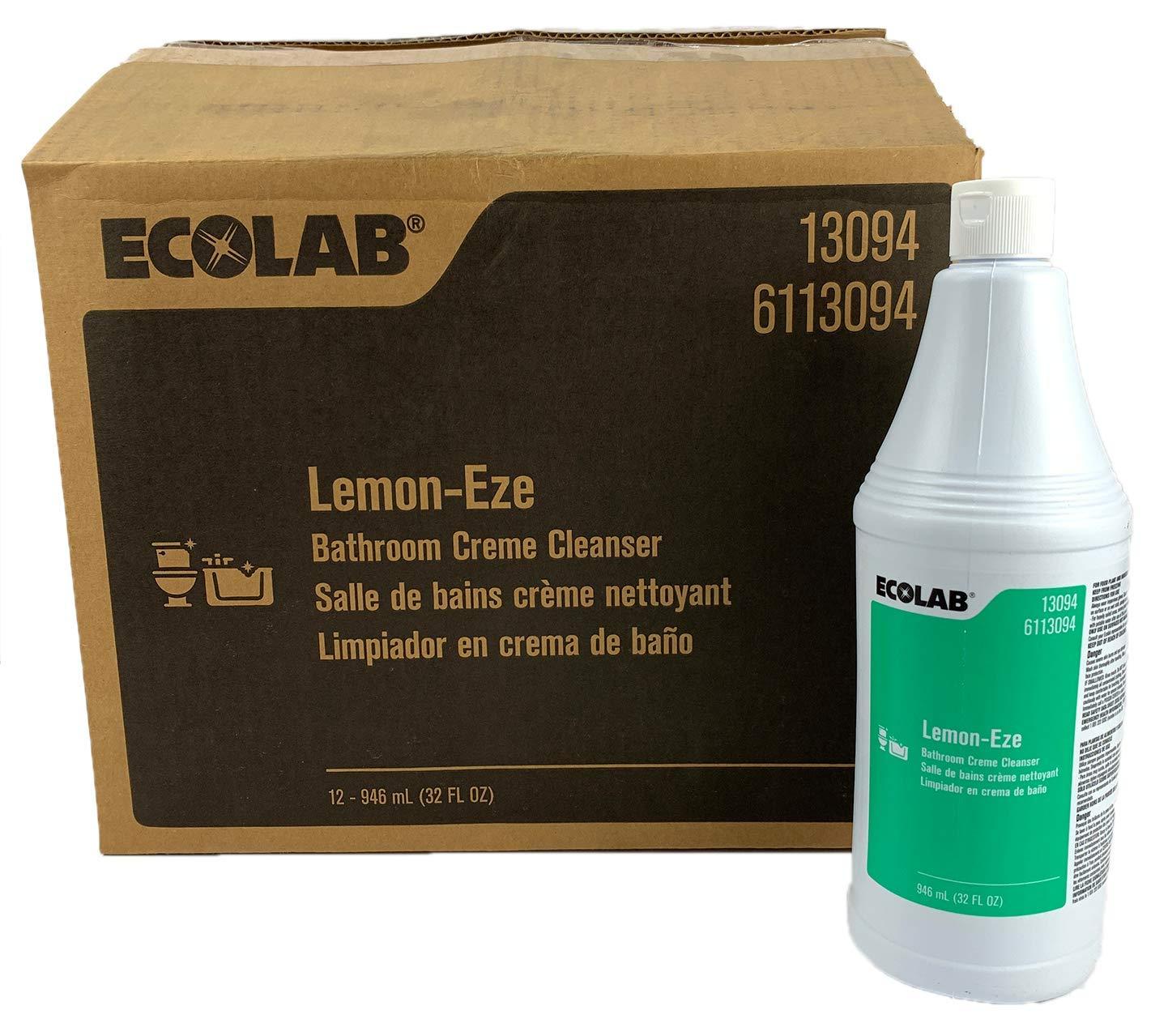 Ecolab 13094 LemonEze Cream Cleanser, Pro-Strength Lemon-Eze Blasts Grime, Grease & Scum (12/cs)