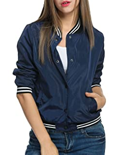 ACEVOG Womens Classic Solid Baseball Jacket Short Bomber Jacket Coat