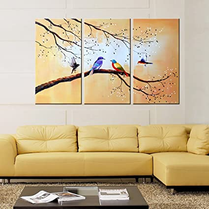 Amazon.com: Extra Large Hand Painted 3 Piece Bluebird Modern ...