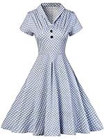 Horcute Women's V-Neck Polka dots Classy Evening Vintage Dress