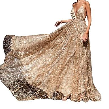 acc412a99acf25 Zegeey Damen Chiffon V-Ausschnitt Kleider Elegant Festlich Hochzeit Kleid  Lang Abendkleid Party Kleid Cocktailkleid Brautjungfernkleid Karneval  Fasching ...